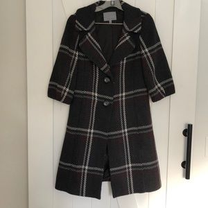 Classiques entier wool blend plaid coat lined Med.